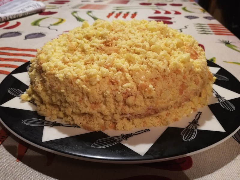 yellow sponge cake with cream filling, mimosa cake
